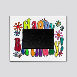 Happy Birthday Word Art Flowers copy Picture Frame