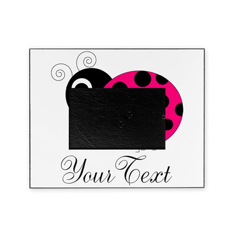 Pesronalizable Pink And Black Ladybug Picture Frame By