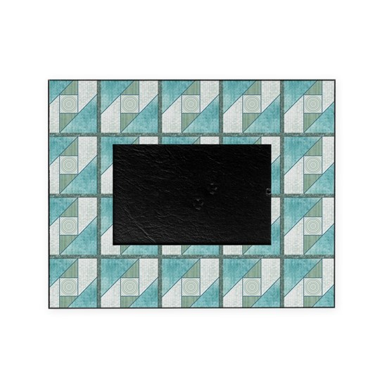 Attic Window Mint Green  Blue Quilt Blocks Pillow