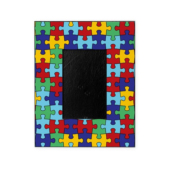 Autism Awareness Puzzle Piece Patter Picture Frame By Missthree Cafepress