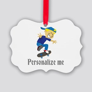 Personalize Boy On A Skateboard Picture Ornament