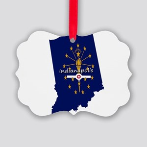 INDIANAPOLIS INDIANA FLAGS Picture Ornament