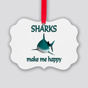 Shark Happy Picture Ornament