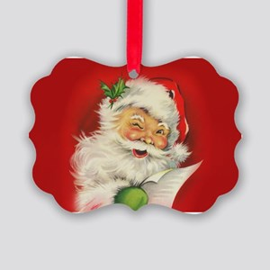 Vintage Christmas Santa Claus Picture Ornament