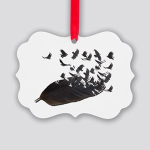Flying Crow Feather Picture Ornament