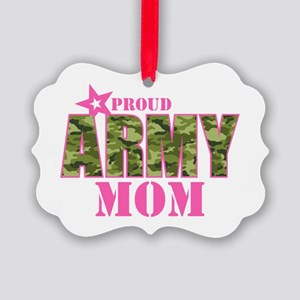 Camo Proud Army Mom Picture Ornament