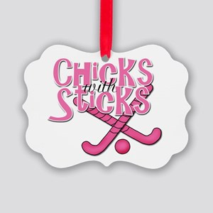 Chicks with sticks Field Hockey Picture Orname