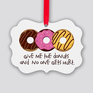 I love donuts! Picture Ornament