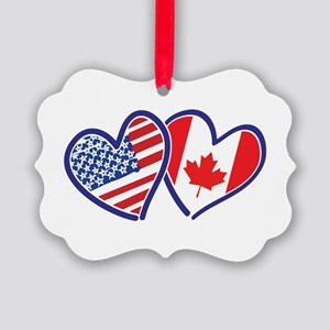 Canada USA Love Hearts Ornament