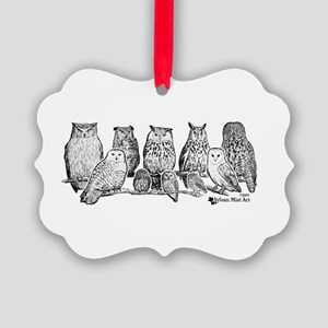 Owls - Ink Drawing Picture Ornament