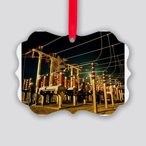 Electricity substation at night Picture Ornament