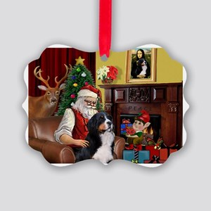 Santa's Home & Bernese Picture Ornament