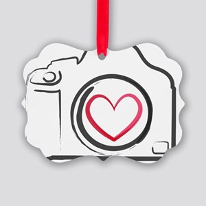 DSLR Camera Heart Picture Ornament