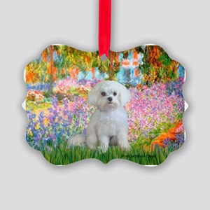 GARDEN-Maltese-Rocky Picture Ornament