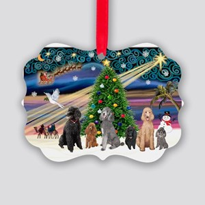 XmasMagic-6 Poodles Picture Ornament