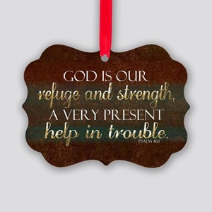 God is our Refuge Bible Scripture Picture Ornament