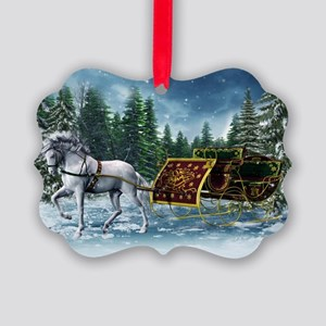 Christmas Sleigh Picture Ornament