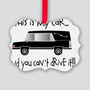 this is my car FUNERAL DIRECTOR Picture Ornament