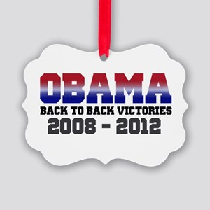 Obama Back to Back Victory Picture Ornament