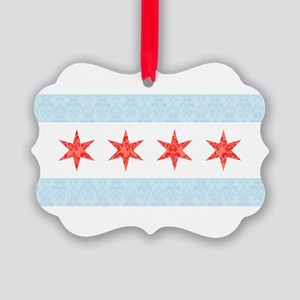 Damask Chicago Flag Picture Ornament