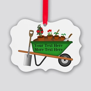 Personalized Green Wheelbarrow Picture Ornament