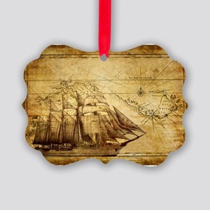 Old Ship Map Picture Ornament