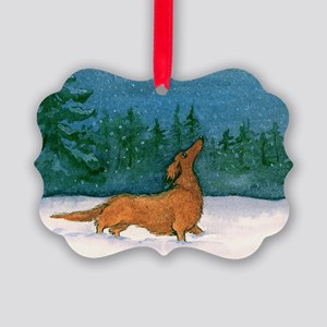 Longhaired Weiner Snow Picture Ornament