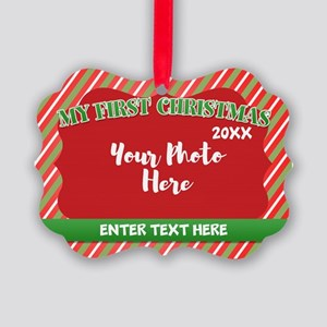 Red First Christmas Personalized Picture Ornament