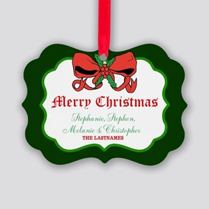 Merry Christmas Bow Holly Names Picture Ornament