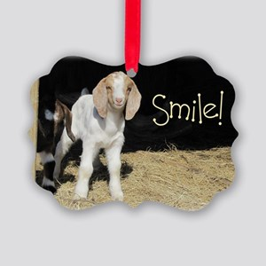 Baby goat Smile! Picture Ornament