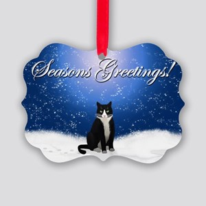 Seasons Greetings Tuxedo Cat Picture Ornament