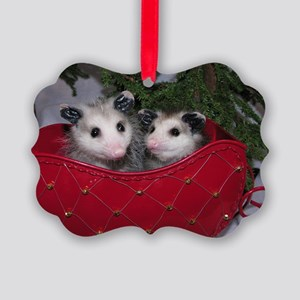 Christmas Opossums in Sleigh Picture Ornament