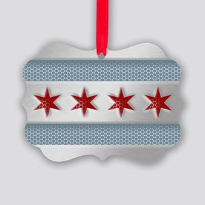 Chicago Flag Brushed Metal Ornament