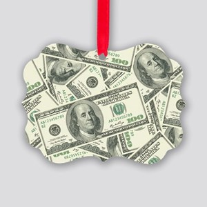 100 Dollar Bill Money Pattern Picture Ornament