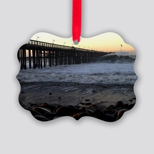 Ocean Wave Storm Pier Picture Ornament