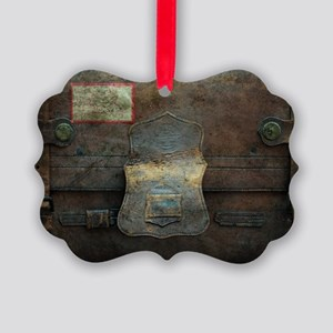 ANTIQUE steamer TRUNK Picture Ornament