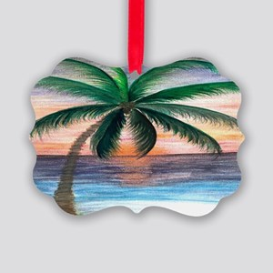 Sunset palm Picture Ornament