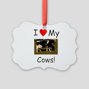 Love My Cows Picture Ornament