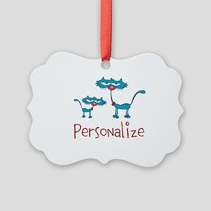 Personalizable. Blue Cats Picture Ornament