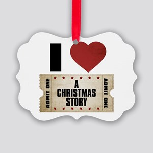 I Heart A Christmas Story Ticket Picture Ornament