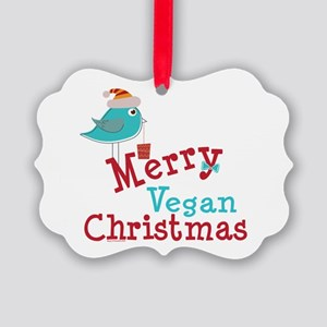 Merry Vegan Christmas Picture Ornament