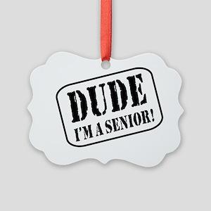 Dude Im a Senior Picture Ornament