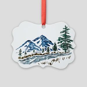 Sketch Mountain Scene Picture Ornament