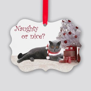 Cat Under Christmas Tree Picture Ornament