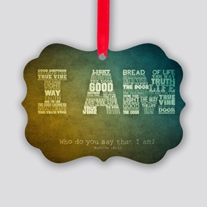 I AM Word Art Picture Ornament