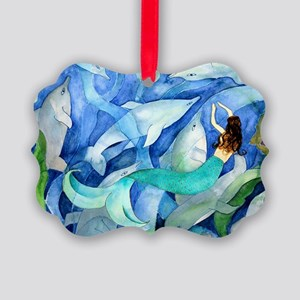 Dolphins and Mermaid party Picture Ornament
