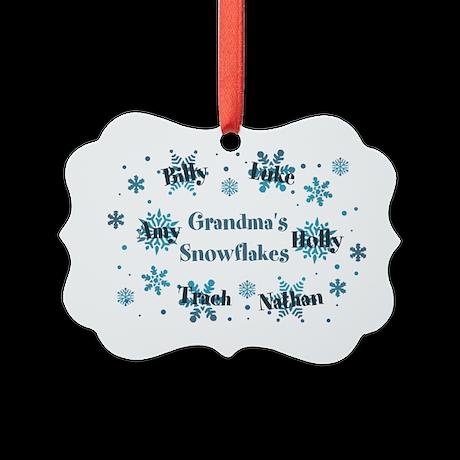 Custom kids snowflakes Picture Ornament