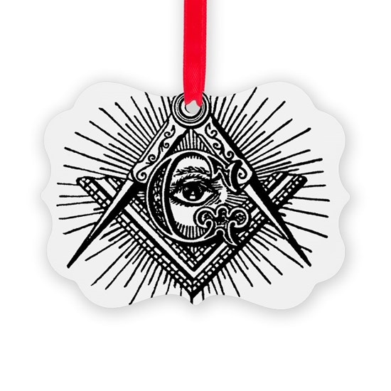 Masonic Square Compass and Eye Picture Ornament
