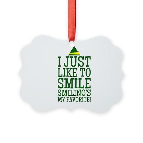 Elf Quotes Smiling: Elf Smiling Quote Ornament By DiamondImagesDesign