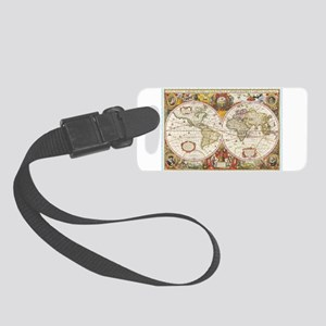 Antique World Map Small Luggage Tag